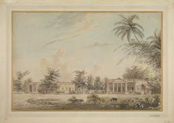 Two European houses standing in a large compound, probably in Bengal. c.1794-97